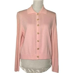 St John Collection Sweater Pink Enamel Buttons Size 8